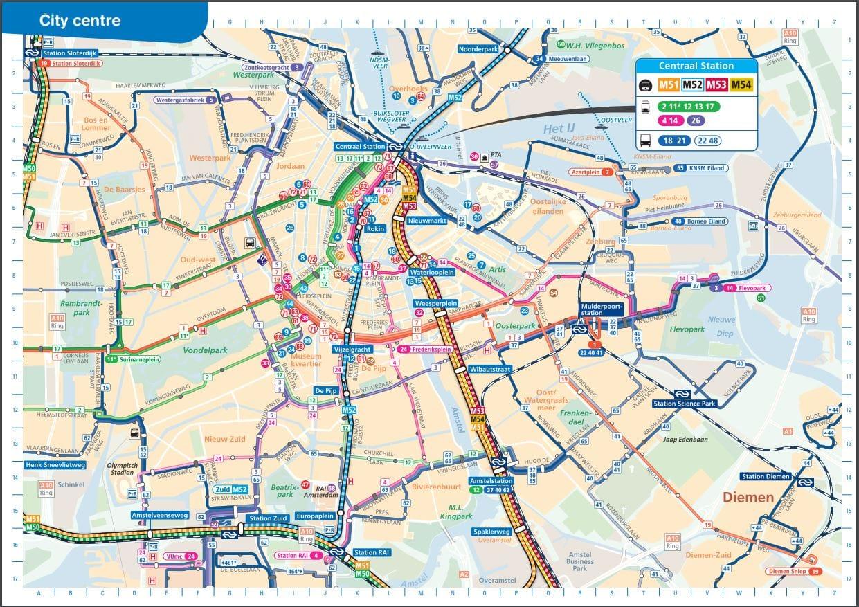 Carte transport public Amsterdam GVB